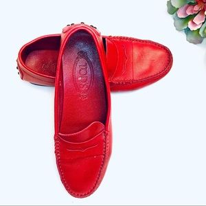 Tod's Red Leather Loafers 37 7
